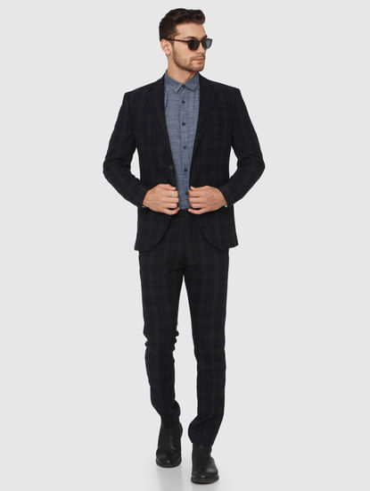 Navy Blue Check Slim Fit Blazer