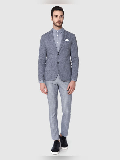 Grey Textured Formal Blazer