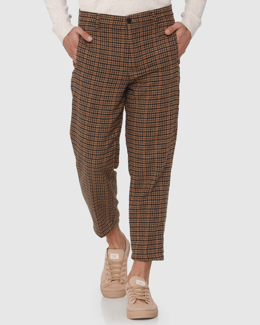 Brown Check Straight Fit Pants