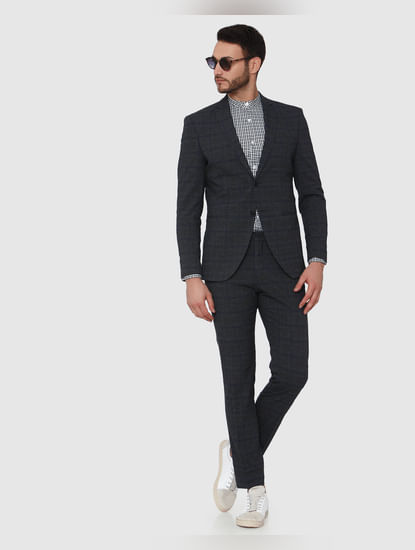 Grey Check Formal Slim Fit Trousers