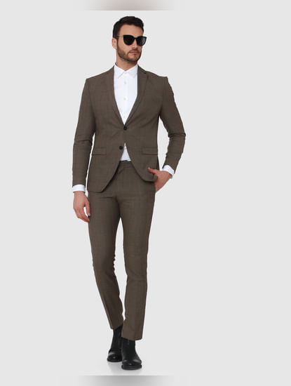 Brown Check Slim Fit Trousers