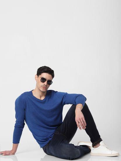Blue Raw Edge Pullover