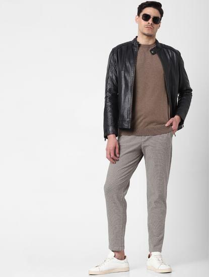 Beige Mid Rise Plaid Slim Fit Pants