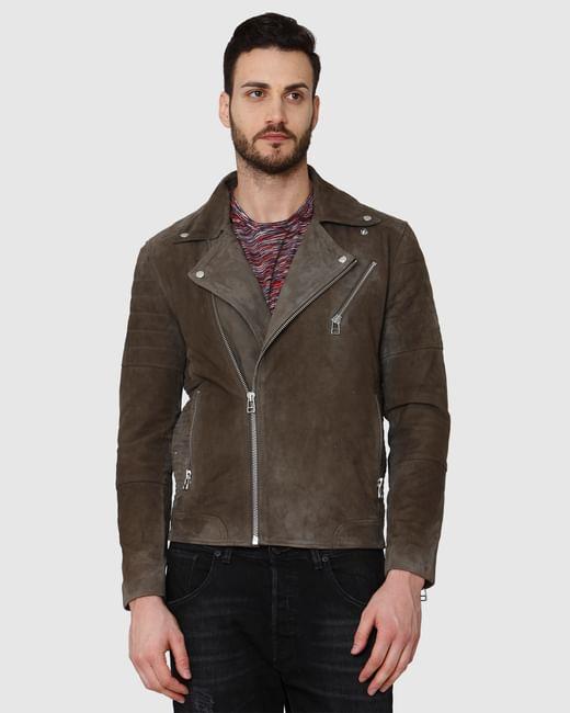 Brown Suede Biker Jacket
