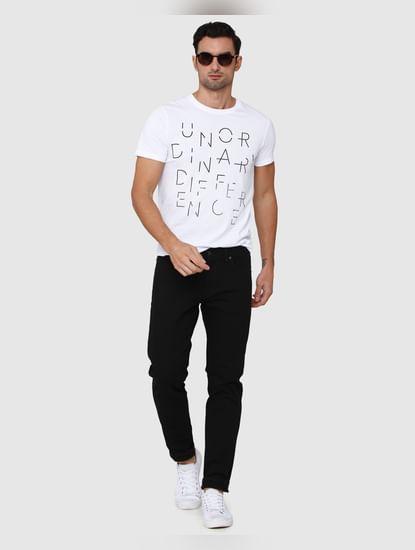 White Printed Crew Neck T-Shirt
