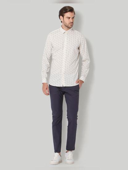 White Printed Full Sleeves Shirt