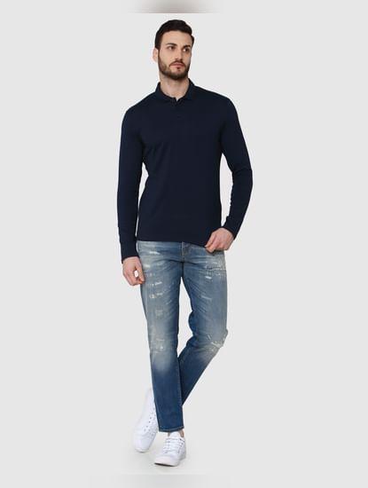 Blue Polo Neck T-Shirt