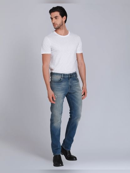 Blue Distressed Slim Fit Jeans