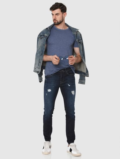 Dark Blue Ripped Pete Skinny Fit Jeans