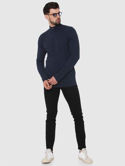 Navy Blue High Neck Polo T-Shirt