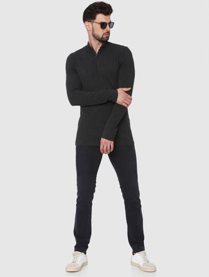 Dark Grey High Neck Polo T-Shirt