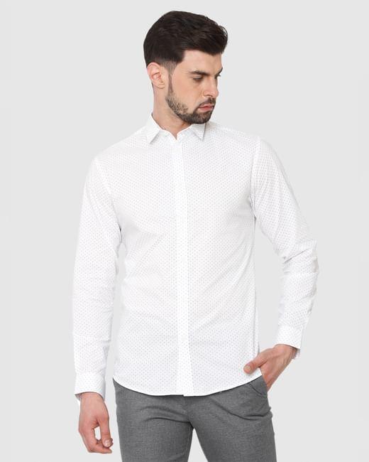 White Printed Formal Full Sleeves Shirt