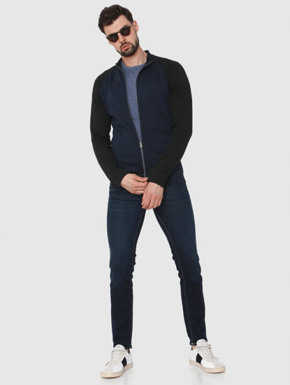 Blue Colourblocked Sweatshirt