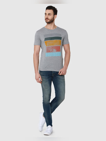 Grey Printed Crew Neck T-Shirt