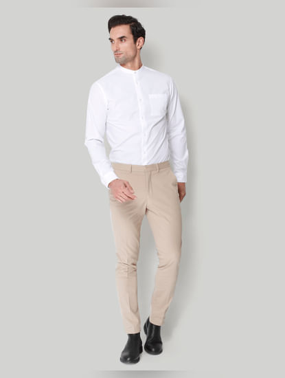 Beige Formal Trousers
