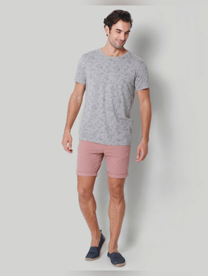 Grey floral print Crew Neck T-Shirt