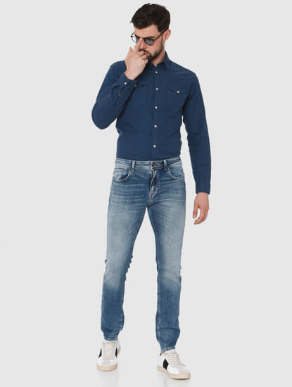 Blue Washed Leon Slim Fit Jeans