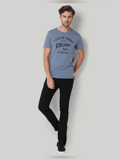 Blue Printed Crew Neck T-Shirt