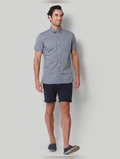 Grey Printed Short Sleeves Shirt