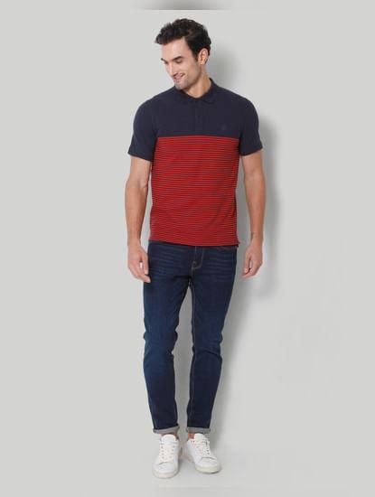 Blue Striped Polo Neck T-Shirt
