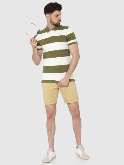 Green Striped Polo Neck T-Shirt