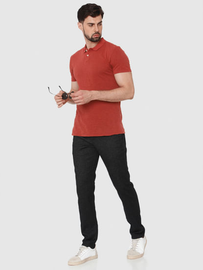 Red Overdyed Polo Neck T-Shirt