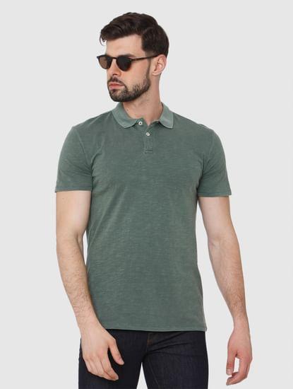 Green Overdyed Polo Neck T-Shirt