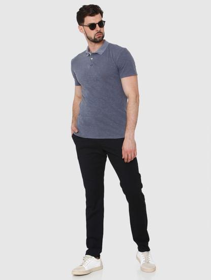Blue Overdyed Polo Neck T-Shirt
