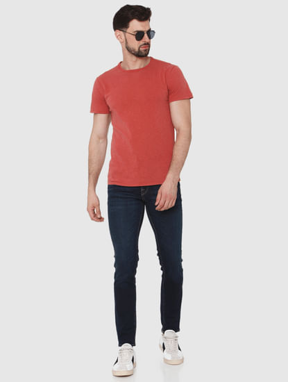 Red Overdyed Crew Neck T-Shirt