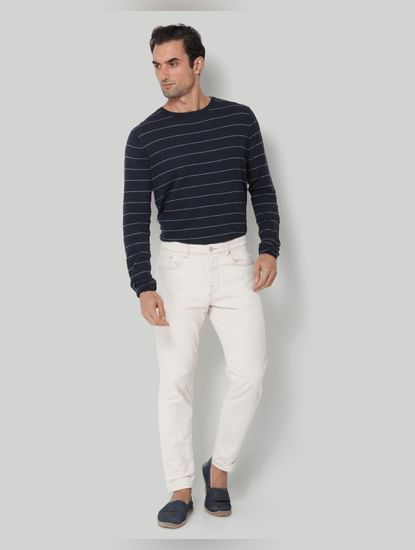 White Tapered Fit Jeans