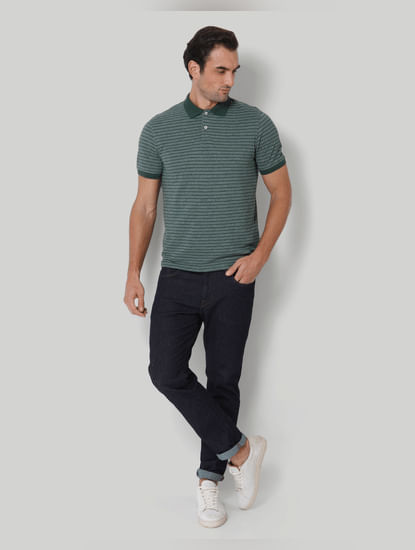 Green Striped Polo Neck T-Shirt