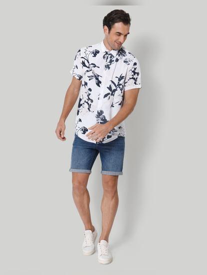 White floral print Short Sleeves Shirt