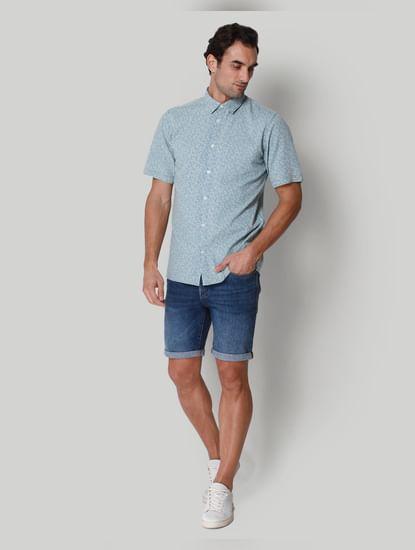 Blue Printed Short Sleeves Shirt