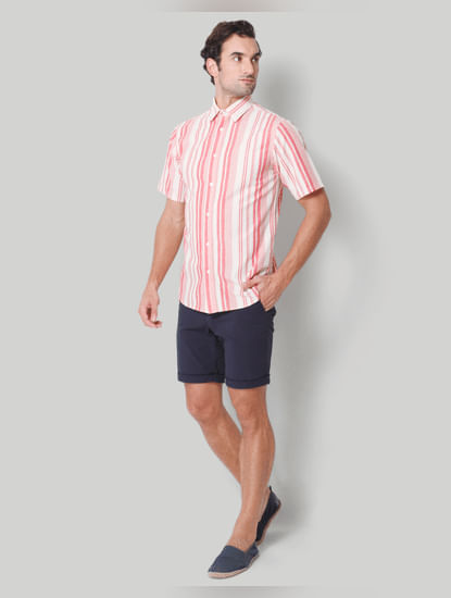 Red Striped Short Sleeves Shirt