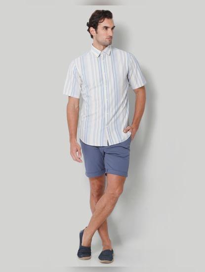 Blue Striped Short Sleeves Shirt