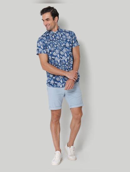 Blue floral print Short Sleeves Shirt