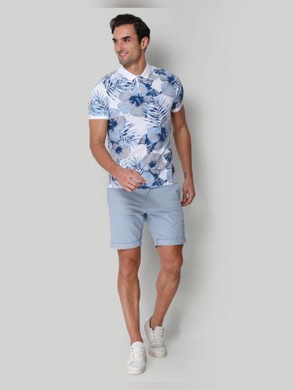 White floral print Polo Neck T-Shirt