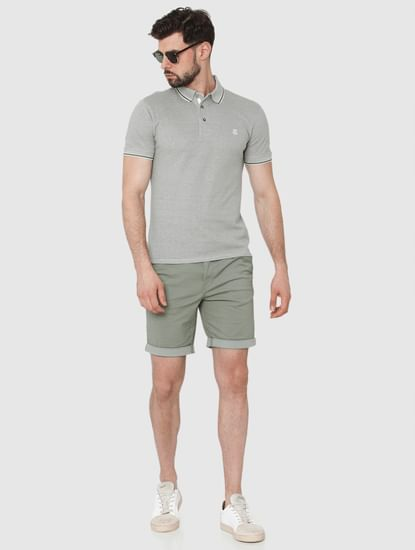 Grey Contrast Tipping Polo Neck T-Shirt