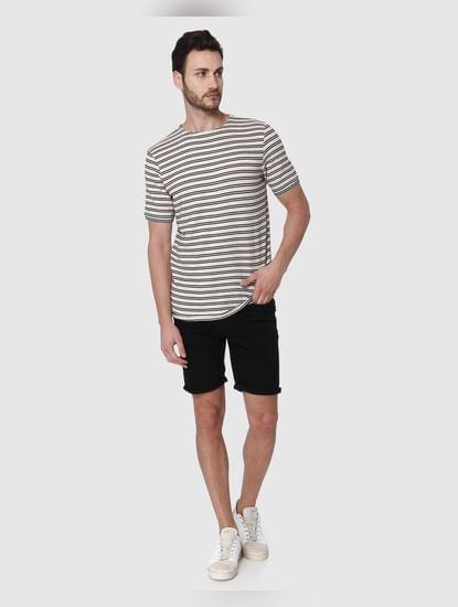 Beige Striped Crew Neck T-Shirt