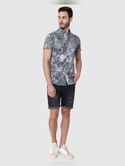 Black floral print Short Sleeves Shirt