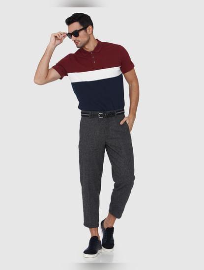 Burgundy Colourblocked Polo Neck T-Shirt