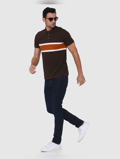 Brown Colourblocked Polo Neck T-Shirt