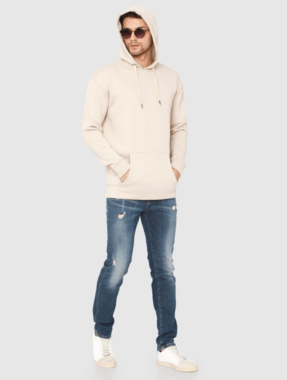 Cream Hooded Sweatshirt