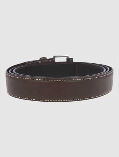 Brown Contrast Stitching Leather Belt