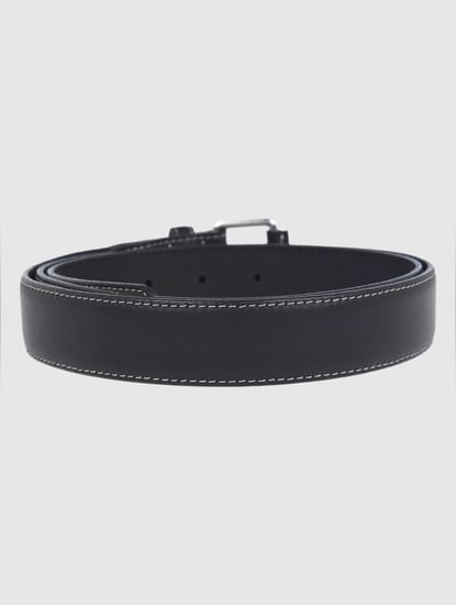 Black Contrast Stitching Leather Belt
