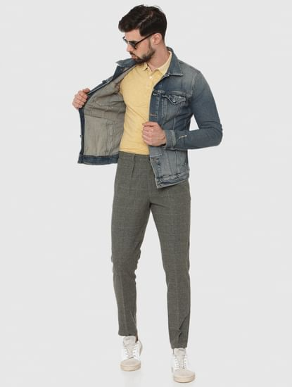 Grey Check Tapered Fit Pants