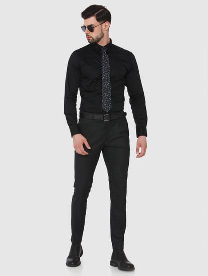 Dark Grey Check Tapered Fit Pants