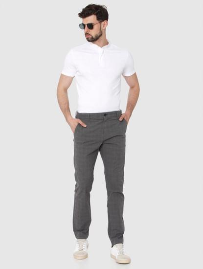 Grey Check Slim Fit Pants