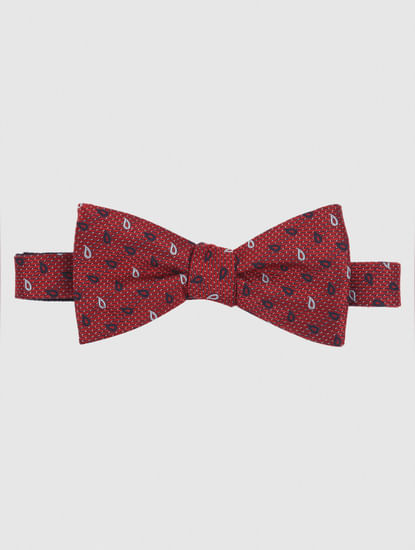Red Printed Bow Tie