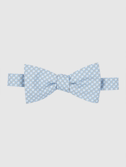 Light Blue Printed Bow Tie
